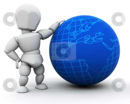 Person with globe stock photo, 3D render of someone with a globe by Kirsty Pargeter