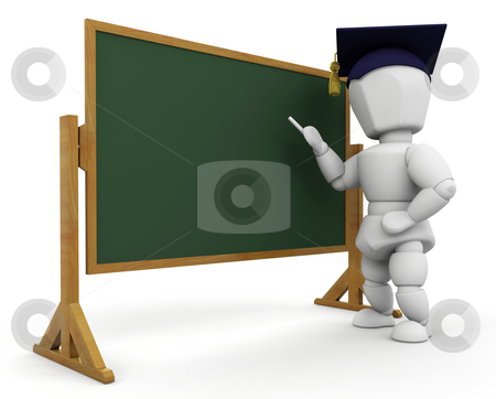 Teacher at blackboard stock photo, 3D render of a teacher at a blackboard by Kirsty Pargeter
