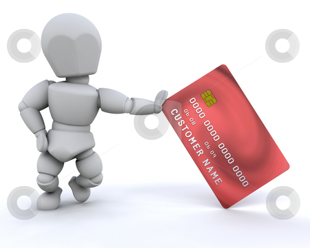 Person with credit card stock photo, Someone stood with a generic credit card by Kirsty Pargeter