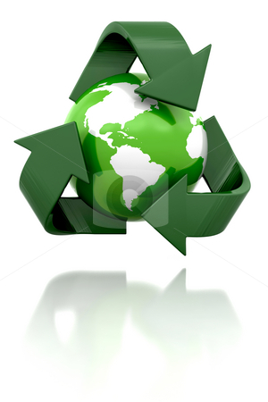 Globe with recycling icon stock photo, 3D render of a globe with a recycling icon by Kirsty Pargeter