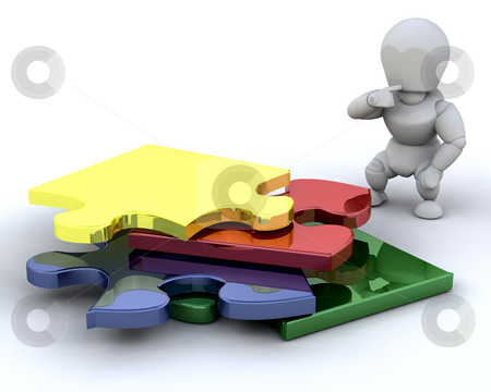 Problem solving stock photo, Someone stood next to an unfinished puzzle by Kirsty Pargeter