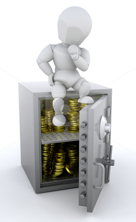 Person sat on safe stock photo, 3d render of a person sat a safe full of gold coins by Kirsty Pargeter