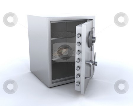 Empty safe stock photo, 3D render of safe with one dollar in it by Kirsty Pargeter