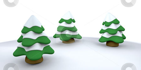 Christmas trees stock photo, 3D render of snowy Christmas trees by Kirsty Pargeter