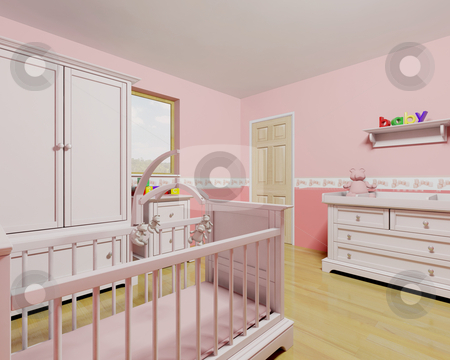 Nursery for baby girl stock photo, 3D render of a nursery for a baby girl by Kirsty Pargeter
