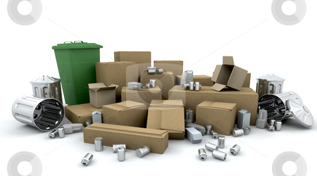 Recycling stock photo, 3D render of boxes, bins, cans and trash cans ready for recycling by Kirsty Pargeter