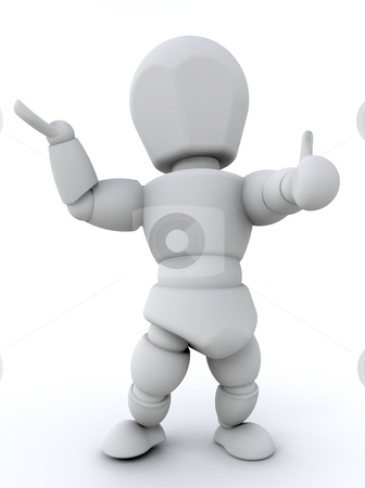 Its okay! stock photo, 3D render of a man with thumb up gesture by Kirsty Pargeter