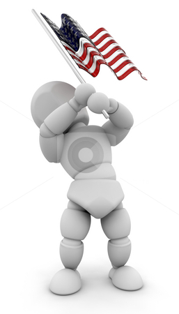 Person waving American flag stock photo, 3D render of someone waving an American flag by Kirsty Pargeter