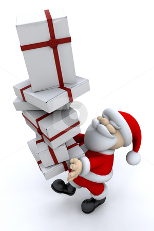 Santa carrying gifts stock photo, Santa carrying a stack of gifts by Kirsty Pargeter