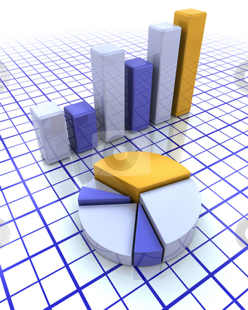 3D bar chart and pie chart stock photo, 3D render of a bar chart and a pie chart by Kirsty Pargeter