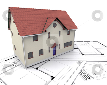 Contemporary house stock photo, Contemporary house on plans by Kirsty Pargeter