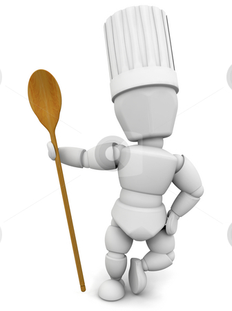 Chef with wooden spoon stock photo, 3D render of a chef with a wooden spoon by Kirsty Pargeter