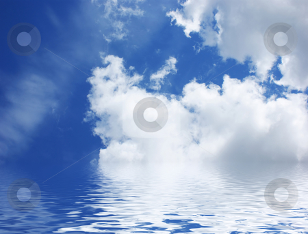 Blue sky with water stock photo, Blue sky with rippled water by Kirsty Pargeter