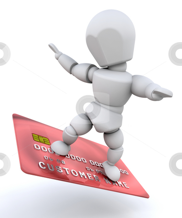 Person with credit card stock photo, Person surfing on a credit card by Kirsty Pargeter
