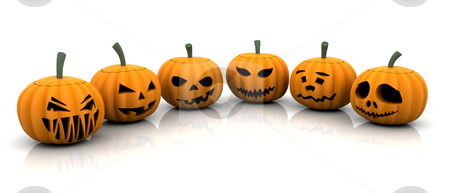 Scary pumpkins stock photo, 3D render of scary pumpkins by Kirsty Pargeter