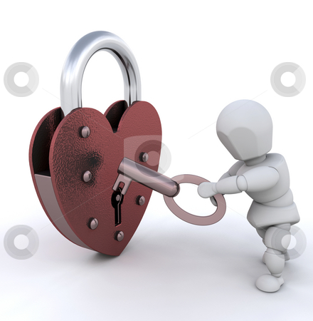 Unlocking heart stock photo, Person unlocking heart shaped padlock by Kirsty Pargeter
