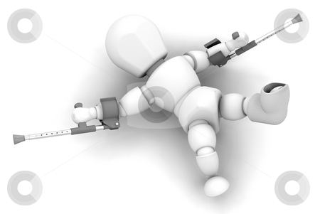Person on crutches stock photo, 3D render of someone on crutches and a plaster cast on foot by Kirsty Pargeter