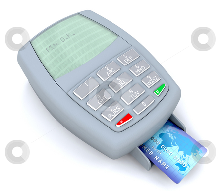 Credit card transaction stock photo, 3d render of a credit card transaction pin approval by Kirsty Pargeter