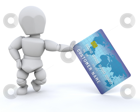 Person with charge card stock photo, 3d render of a person with a charge card by Kirsty Pargeter
