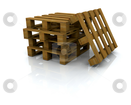 Pallets stock photo, 3D render of a stack of pallets by Kirsty Pargeter