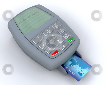 Credit card approved stock photo, Credit card in machine showing card approved message by Kirsty Pargeter