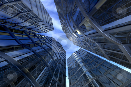 Skyscrapers by day stock photo, Looking up at skyscrapers by daylight by Kirsty Pargeter