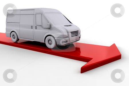 Delivery van stock photo, Delivery van on red arrow by Kirsty Pargeter