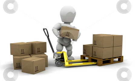 Stacking boxes stock photo, 3D render of someone stacking boxes by Kirsty Pargeter