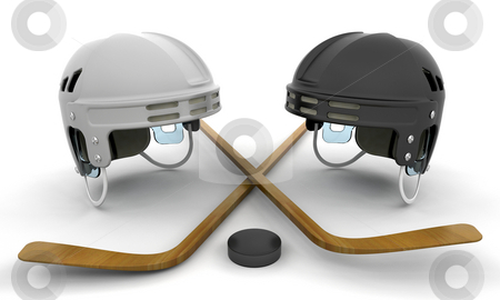 Ice hockey helmets, sticks and puck stock photo, 3D render of ice hockey items by Kirsty Pargeter