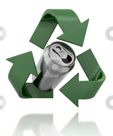 Recycle symbol stock photo, 3d render of a recycle symbol and can by Kirsty Pargeter