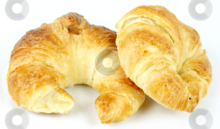 Croissants stock photo, Croissants on a white background by Kirsty Pargeter