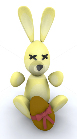 Easter bunny and egg stock photo, 3d render of an easter bunny and chocolate easter egg by Kirsty Pargeter