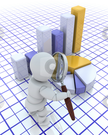 Looking at profits stock photo, 3D render of someone looking at a graph through a magnifying glass by Kirsty Pargeter