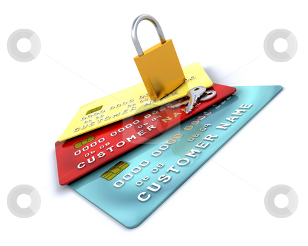 Purchase protection stock photo, Padlock on generic credit cards by Kirsty Pargeter