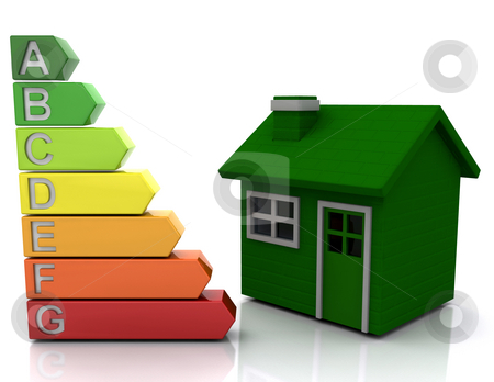 Energy ratings stock photo, Energy rating graph by a house by Kirsty Pargeter