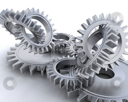 Interlocking gears stock photo, 3D render of interlocking gears by Kirsty Pargeter