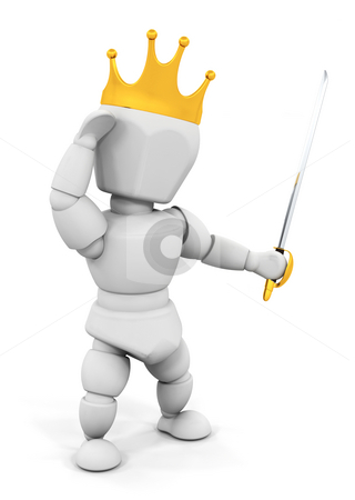 Person with crown and sword stock photo, 3D render of someone with a sword and crown by Kirsty Pargeter