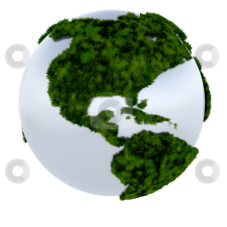 Green earth stock photo, 3D render of the earth covered in grass by Kirsty Pargeter