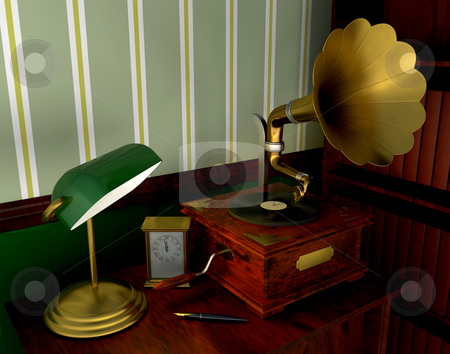 Gramophone stock photo, Gramophone in old style room by Kirsty Pargeter