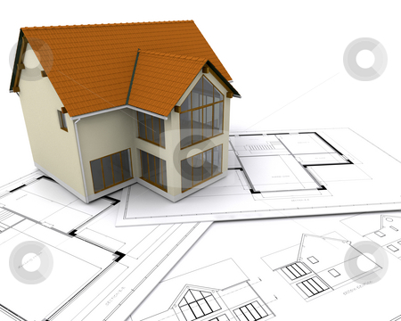 House on blueprints stock photo, Modern house on blueprints by Kirsty Pargeter
