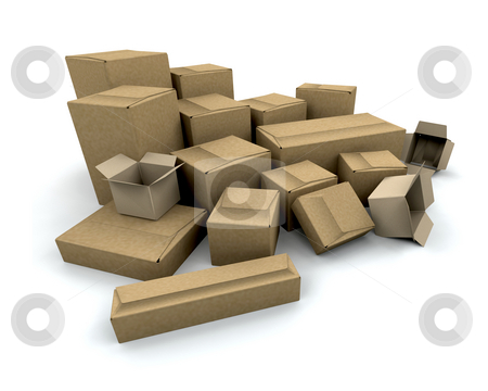 Boxes stock photo, 3D render of a stack of boxes by Kirsty Pargeter