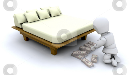 Hiding savings stock photo, 3D image showing someone stashing their savings under a bed by Kirsty Pargeter