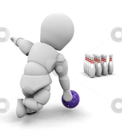 Ten pin bowling stock photo, 3D render of someone ten pin bowling by Kirsty Pargeter