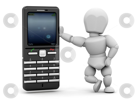Person with mobile phone stock photo, 3D render of person with mobile phone by Kirsty Pargeter