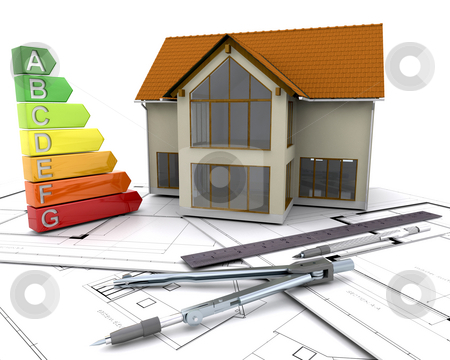 Energy ratings stock photo, House with energy ratings on plans by Kirsty Pargeter