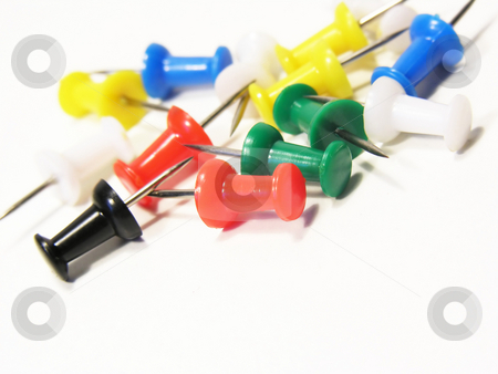 Push Pins on White stock photo,  by Kirsty Pargeter