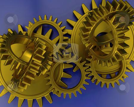 Interlocking gears stock photo, 3D render of interlocking gears by Kirsty Pargeter