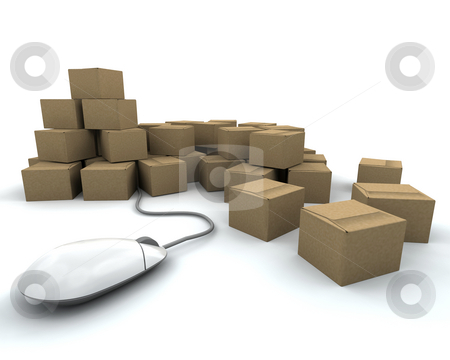 Internet delivery stock photo, 3D render of a stack of boxes with mouse by Kirsty Pargeter