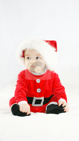 Baby santa stock photo, Baby boy in santas outfit by Kirsty Pargeter
