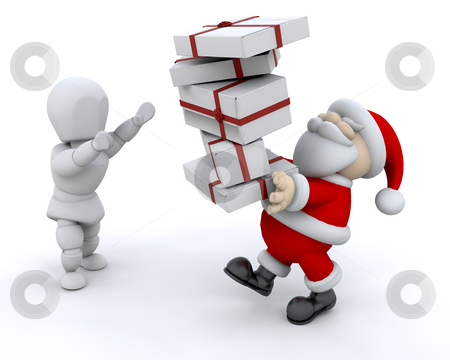 Santa giving gifts stock photo, Santa Claus giving a stack of gifts by Kirsty Pargeter